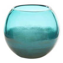 "Small Aquamarine Fish Bowl Art Glass Vase or use as Decorative Piece 5"" High - $34.95"