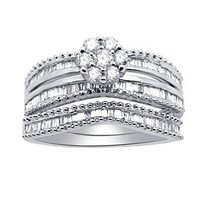 0.83 Ct Round & Baguette Natural Diamond Sterling Silver Engagement Bridal Set - $484.19