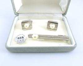 Vintage 1950s 60s Japan Japanese Handmade Sterling Silver & Pearl CUFFLI... - $195.00