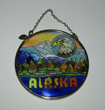 "Alaska Eagle Mountains Sun Catcher AMIA 3.5"" Round New Hand Painted Glass  - $18.80"