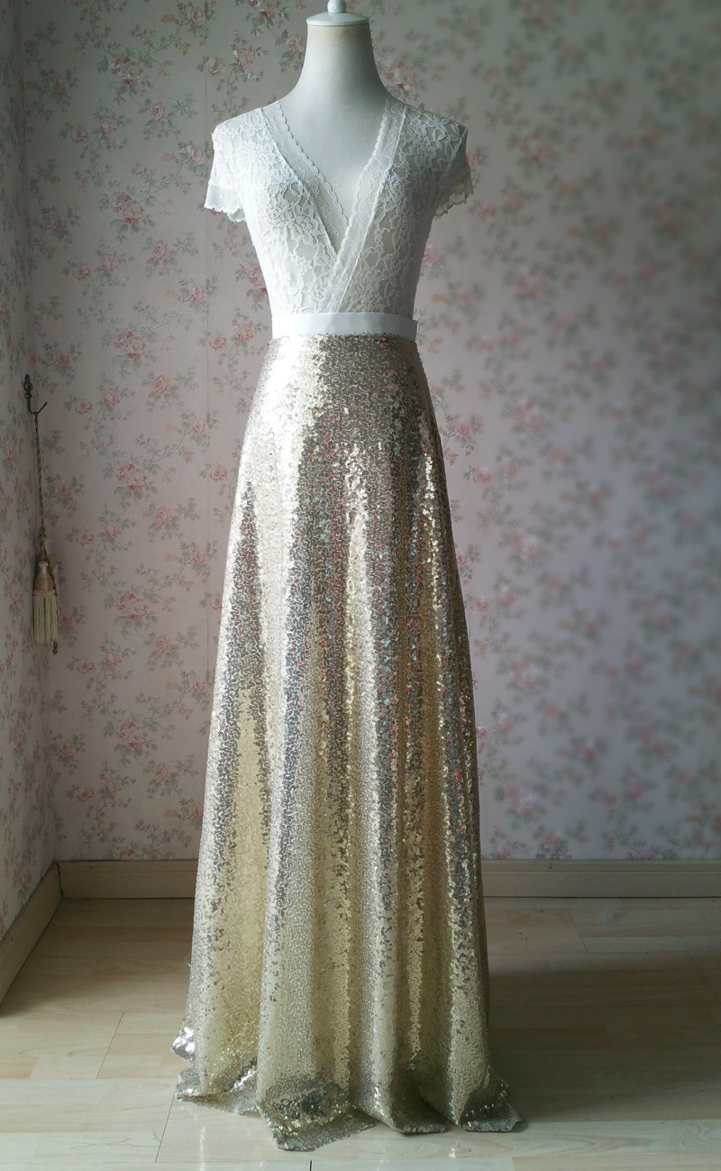 Gold Sequined Maxi Skirt High Waist Full Sequined Wedding Bridesmaid Maxi Skirts
