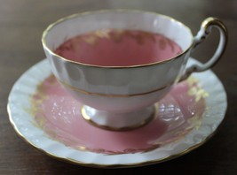 Vintage Light Pink and Gold AYNSLEY England Bone China Tea Cup and Saucer - $28.01