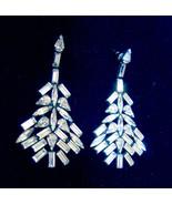 Rhinestone Art Deco Dangle Earrings Sparkling / Silver Tone VTG Pierced ... - $48.37