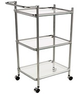 Organize It All 3 Tier Chrome and Tempered Glass Serving Cart - $65.37