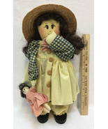 "Doll Country Craft w/ Dolly Wood Feet Base Home Decor Handmade Style 15"" - $12.86"