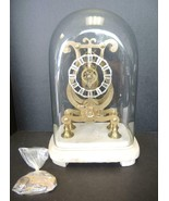 Victorian Fusee Brass Lyre Shape Skeleton Mantel Clock With Glass Dome - $949.99