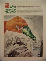 1964 7UP SCUBA DIVERS DIVING FISH VODKA & 7UP MAN'S MIXER PRINT AD - $9.99