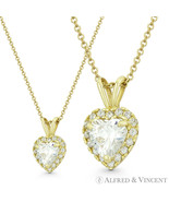 Heart Love Charm Clear CZ Crystal Pave 14k Yellow Gold 12x8mm Valentine ... - $39.89+