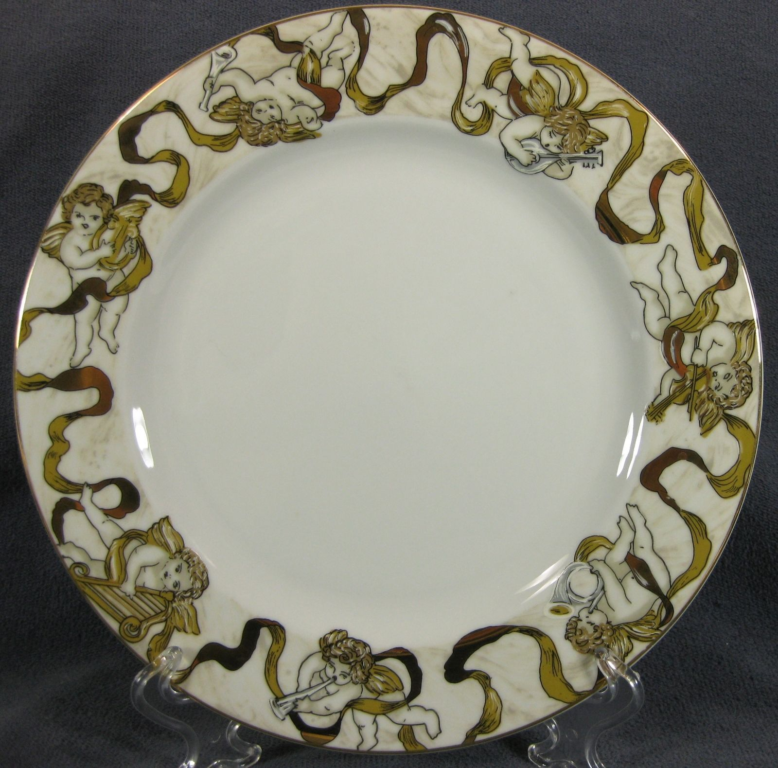 Primary image for American Atelier Heavenly Hosts 3373 Dinner Plate Cherubs Golden Ribbon 10 5/8""