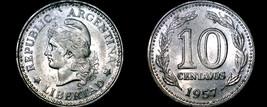 1957 Argentina 10 Centavo World Coin - $3.99