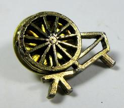 Vintage Spinning Wheel Gold-tone Metal Lapel Pin Pinback - $10.84