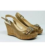 Franco Sarto Size 7 M Carnival Tan Brown Slingback Open Toe Cork Wedge S... - $28.25