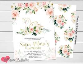 Swan Birthday invitation, Floral blush & gold birthday Invitation, 1st B... - $9.99+