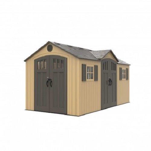 Lifetime 15x8 Plastic Shed Kit w/ Double Doors - Beige [60234]