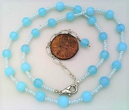 Aqua Opal Glass Beaded Necklace - $27.15