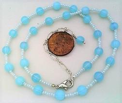 Aqua Opal Glass Beaded Necklace - $27.15