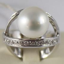 AMAZING SOLID 18K WHITE GOLD RING DIAMOND AND AUSTRALIAN PEARL DIAMETER 1.2 CM image 1
