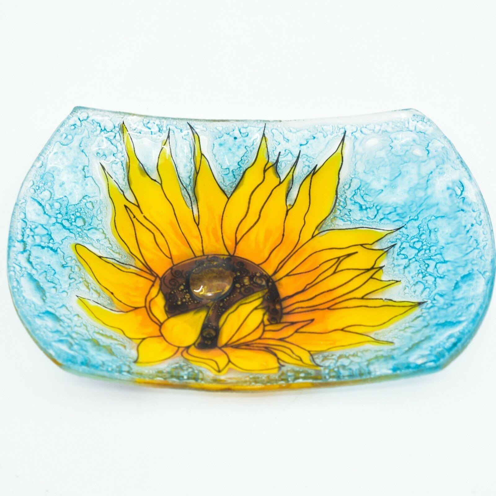 Fused Art Glass Sunflower Flower Design Soap Dish Handmade Ecuador