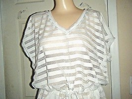 CALVIN KLEIN OFF-WHITE CAP SLEEVE LACE STRETCH POLYESTER TOP/MINI DRESS SZ L  image 2