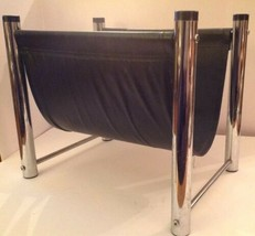 Mid Century Modern Magazine Rack Chrome Vinyl Faux Leather Black Sling MCM  - $58.04