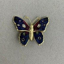 Small Enamel Butterfly Brooch Pin Vintage Blue Pink Gold Tone - $11.84