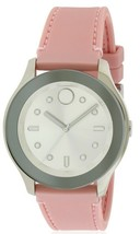 BRAND NEW MOVADO BOLD 3600414 SILVER DIAL PINK SILICONE BAND WOMENS WATCH - $191.06