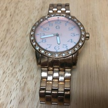 G By GUESS Lady Rose Gold Tone Rhinestone Analog Quartz Watch Hours~New Battery image 2
