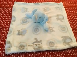 Blankets and & Beyond Elephant Owl Blue Gray Baby Blanket Security Lovey - $27.72