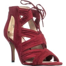 Nine West Galaxy Lace-Up Dress Sandals, Red Suede, 6.5 US - $34.55