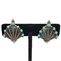 Native Tribal Sterling Silver Blue Turquoise Vintage Clip On Earrings - $39.59