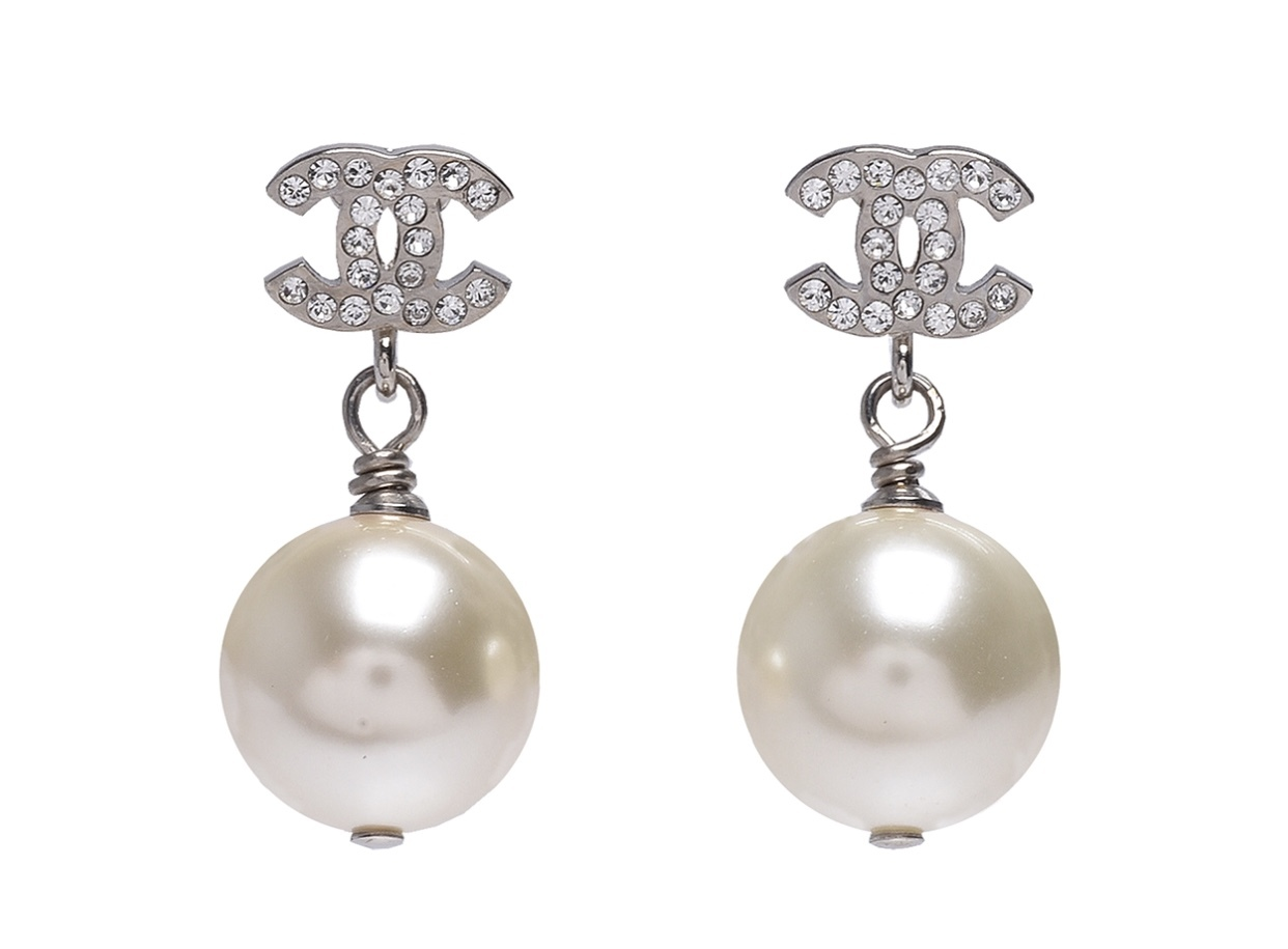 Authentic Chanel Classic Crystal CC Pearl Silver Earrings