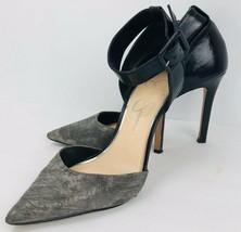 Jessica Simpson Camby 7.5 M Black Gray Leather Pointy Toe Stilettos Ankl... - $39.59