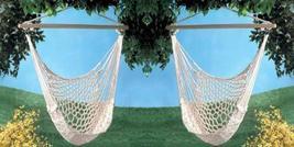 Two (2) swinging cotton net hammock chairs, yard metal ring wood swing chair - $69.00