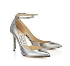Jimmy Choo Lucy Metallic Silver Leather Ankle Strap Pump SZ 38 - US 8 - $399.00