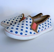 Boden Slip On Sneakers ~ Euro 39 (US 6.5) White & Blue Polka Dots Canvas... - £6.35 GBP
