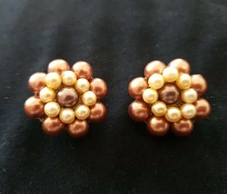 Vintage -Antique Beautiful Clip On Gold Tone Bronze Color Beaded Earring... - $3.47
