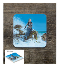 Silver hair Mermaid on Jetty Sandstone Square Table Coaster - $6.00