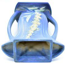 """Vintage Roseville Pottery USA Blue Foxglove Floral Flower 9.25"""" Vase 49-9 image 6"""