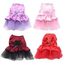 Dog Princess Dress Lace Pet Apparel Pink Red XXS XS Extra Small Tutu Ski... - $4.95