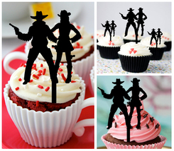 Wedding,Birthday Cupcake topper,couple-of-cowboys-and-revolver Package : 10 pcs - $10.00