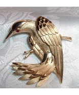 Vintage Crown Trifari Brooch Gold Tone Eagle / Hawk Designer Signed - $69.95