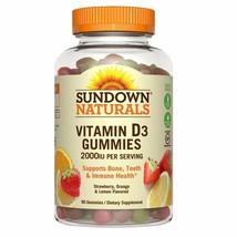 Sundown Naturals Vitamin D3 2000 IU Gummies, Strawberry, Orange, & Lemon - $12.59