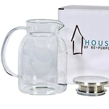House Glass Pitcher with Stainless Steel Lid, 50 ounces, Pitchers for Hot/Cold W - $27.47