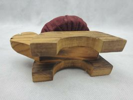 "Vintage Figural TURTLE Sewing Pin Cushion wood maroon 5.5"" image 4"