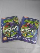 "Lot of 2 Teenage Mutant Ninja Turtles 18""Foil Happy Birthday Balloon Nickelodeon - $12.86"