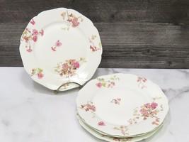 """4 Haviland Limoges France Pink Floral Scalloped Dessert Plates 7.5"""" - $27.72"""