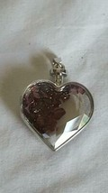 "1.25""GENUINE GARNET GLASS STONE FILLED FACETED GLASS CLEAR PUFF HEART PE... - $5.93"