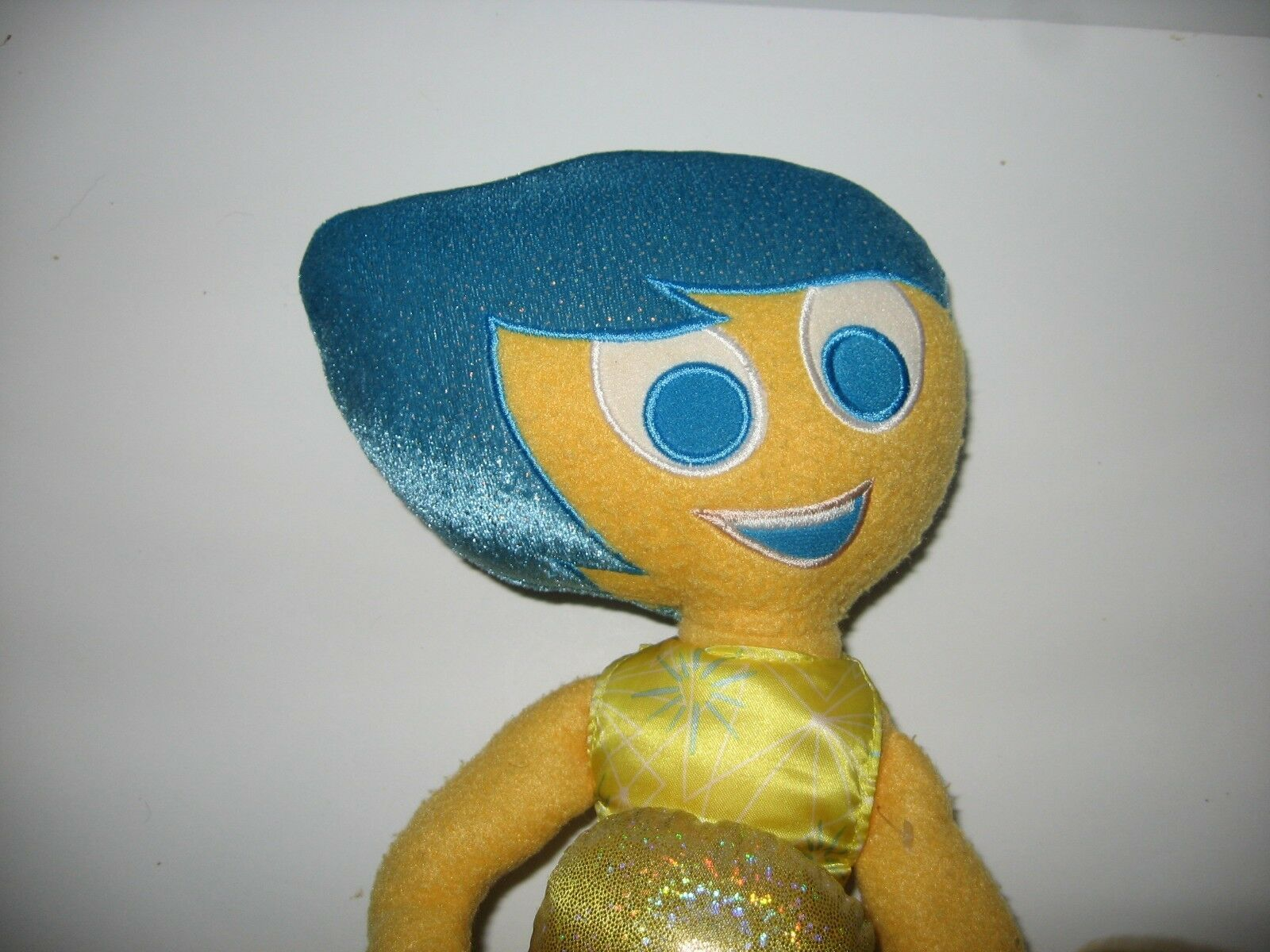 Disney Store Pixar Inside Out Joy Plush Doll Yellow Blue Hair Eyes Dress 15""