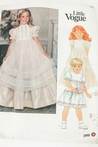 Little Vogue Girls Dress Pinafore Sz 6X Sewing Pattern 2866 1980s - $21.83