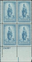 1950 Statue of Freedom Plate Block of 4 US Postage Stamps Catalog 989 MNH